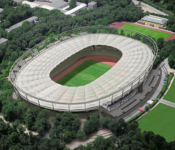 Luftbildmontage zum Stadion in Frankfurt
