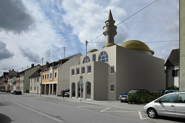 Eine konrovers diskutierte Moschee im Wohngebiet (Baumassenstudie)