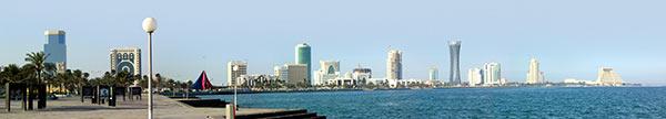 The corniche Doha ... mit montierten Neubauten