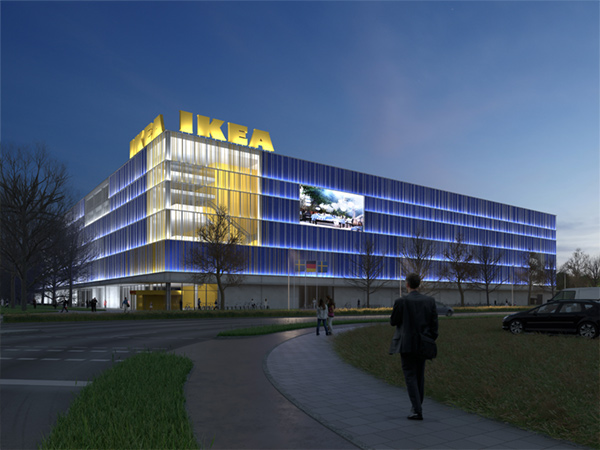 IKEA Karlsruhe - Fassade bei Nacht