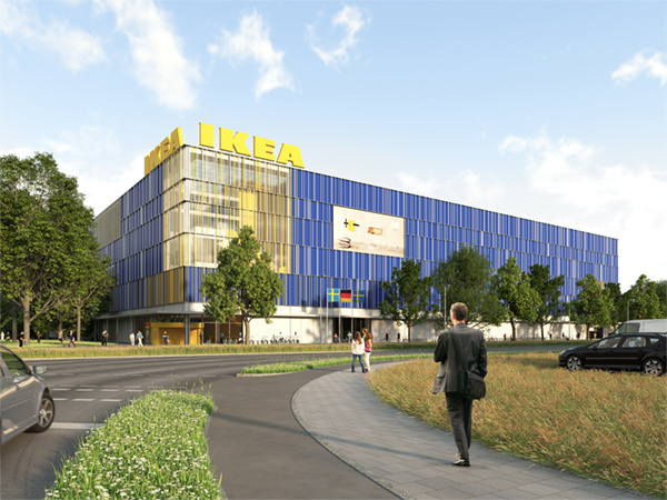 IKEA Karlsruhe - Fassade bei Tag
